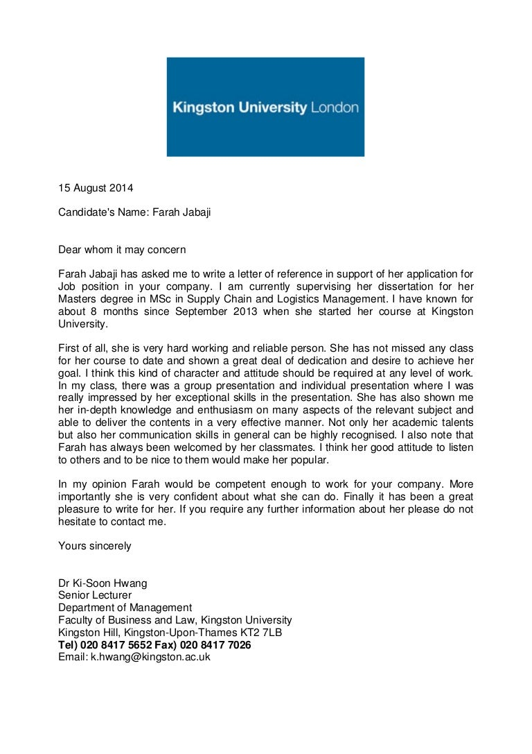 Academic reference letter kingston university aljukfo Choice Image