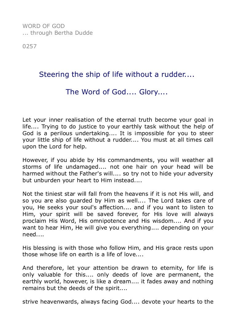 0257 Steering The Ship Of Life Without A Rudder The Word Of God