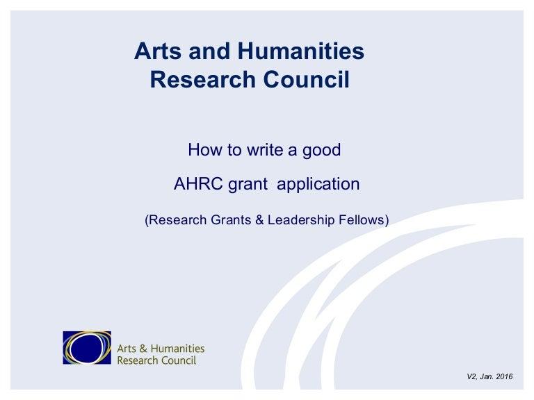 02 How to write a good AHRC grant application (Reserach