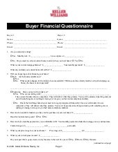 Buyer Financial Questionnaire