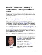 Business Readiness—The Key to Surviving and Thriving in Uncertain Times