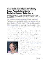 How Sustainability and Diversity Prove Foundational to the Evolving Modern Data Center