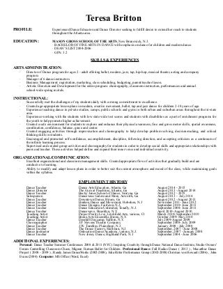 How To Make A Dance Resume  How To Make A Dance Resume
