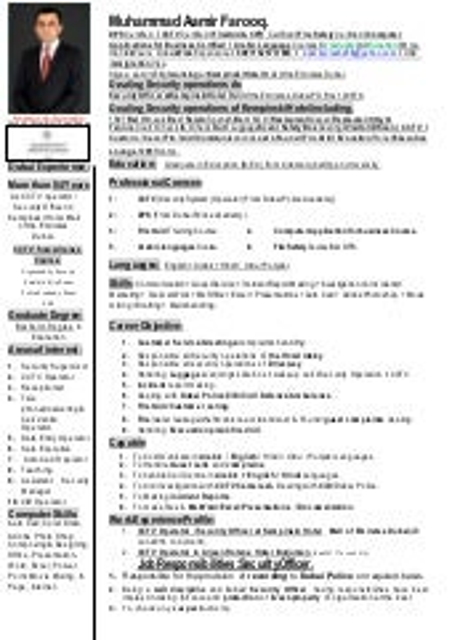muhammad aamirs cv - Cctv Operator Sample Resume