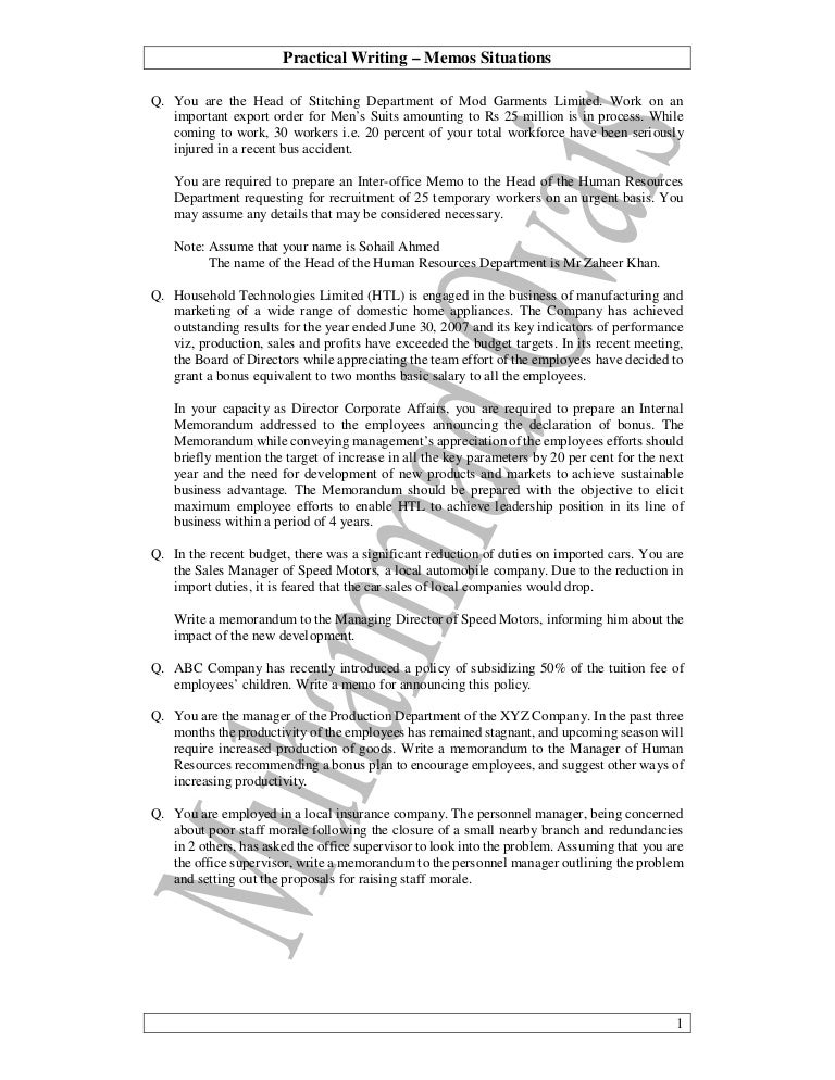 Memo Outlines Education Dept Plans To >> 03 Practical Writing Questions Memos