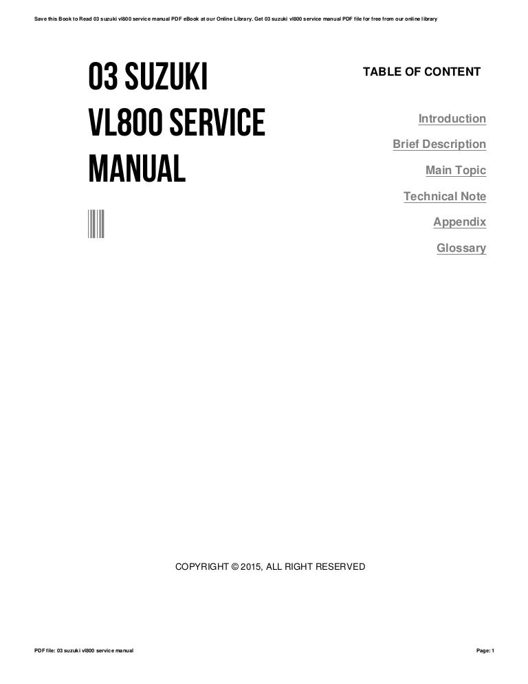 03 suzuki vl800 service manual
