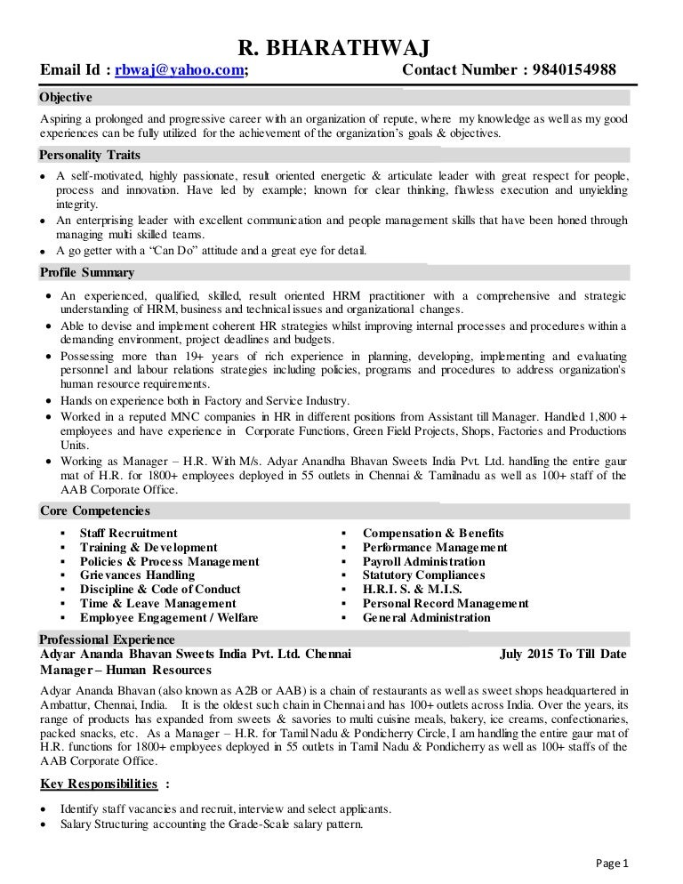 Profile of Senior Human Resources Professional with 19 yrs. experienc…