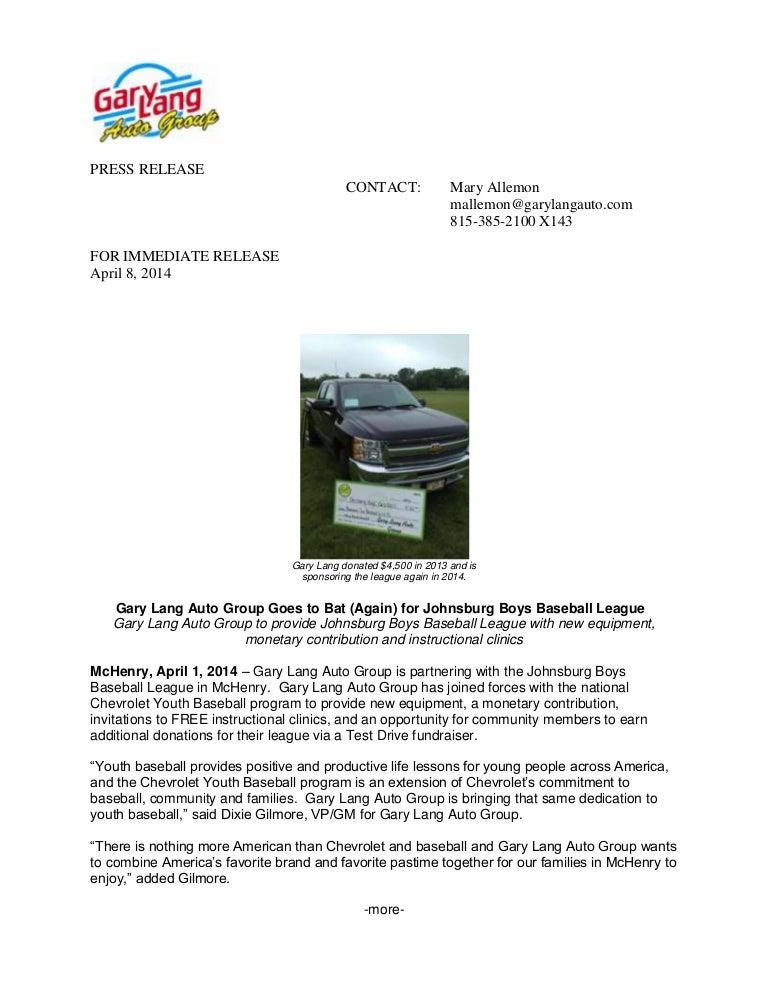 Gary Lang Chevy >> 2014 Chevy Youth Baseball Johnsburg Boys Baseball League