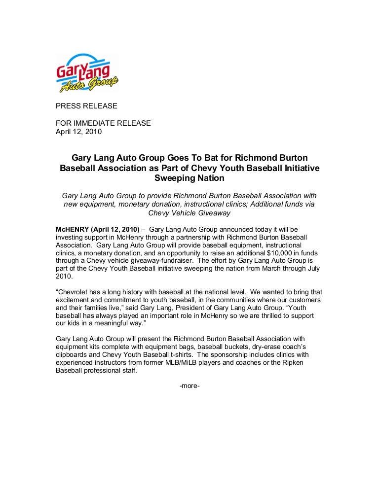 Gary Lang Chevy >> Gary Lang Chevy Supports Chevy Youth Baseball