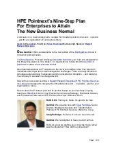HPE Pointnext's Nine-Step Plan For Enterprises to Attain The New Business Normal