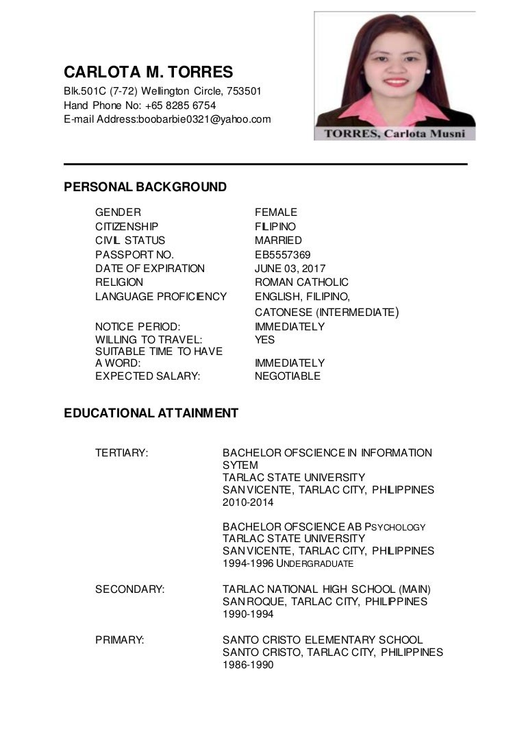 carlota m torres updated resume - Updated Resume Format