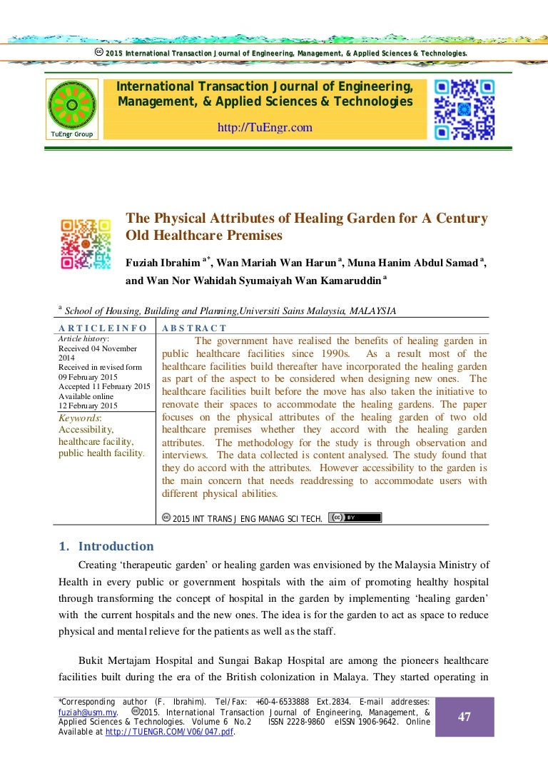 The Physical Attributes Of Healing Garden For A Century Old Healthcar