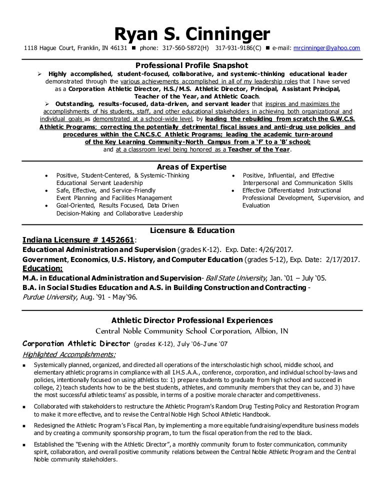@Cinninger AD Administrative Resume June 2015 With Reference Contact U2026