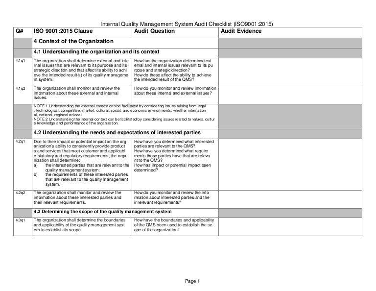 04 a iso 9001 2015 checklist