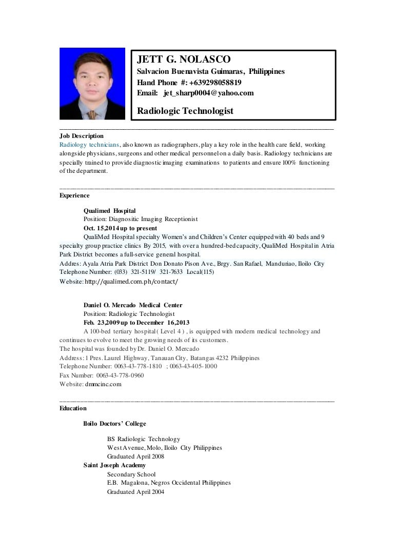 nolascojett resume - X Ray Technologist Job Description
