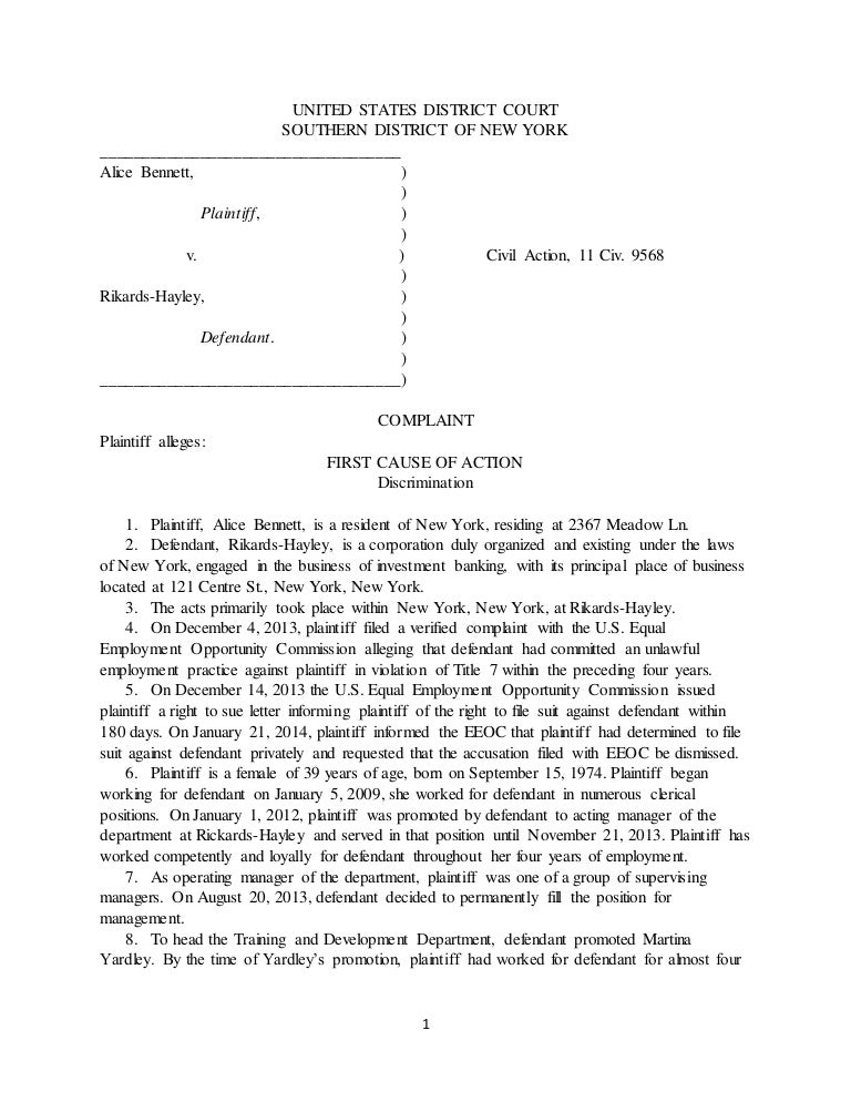 Legl Civil Litigation Complaint