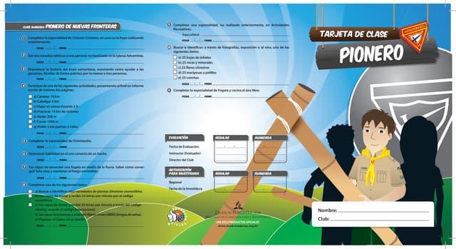 Tarjeta de Clase Pionero 2014