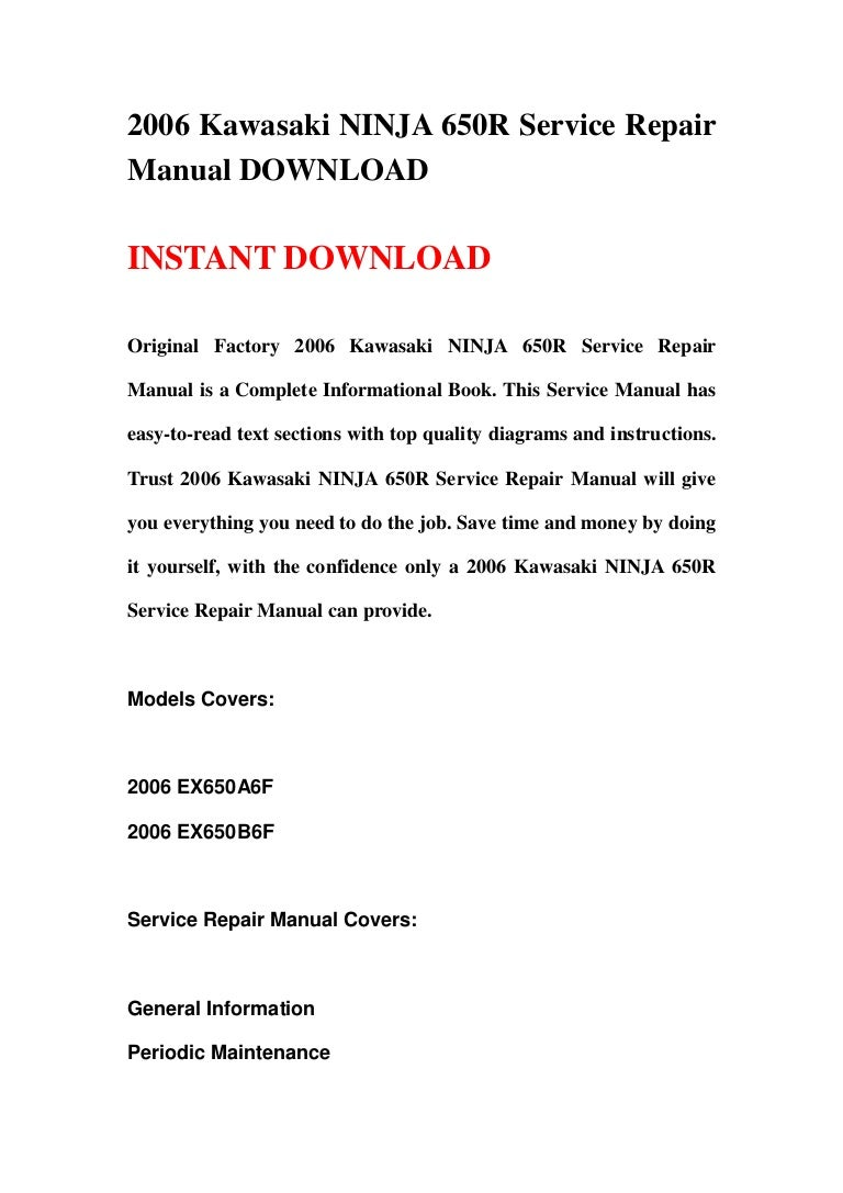 2006 Kawasaki Ninja 650r Service Repair Manual Download Engine Diagram