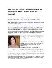 Work in a COVID-19 World: Back to the Office Won't Mean Back to Normal