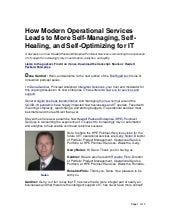 How Modern Operational Services Leads to More Self-Managing, Self-Healing, and Self-Optimizing for IT