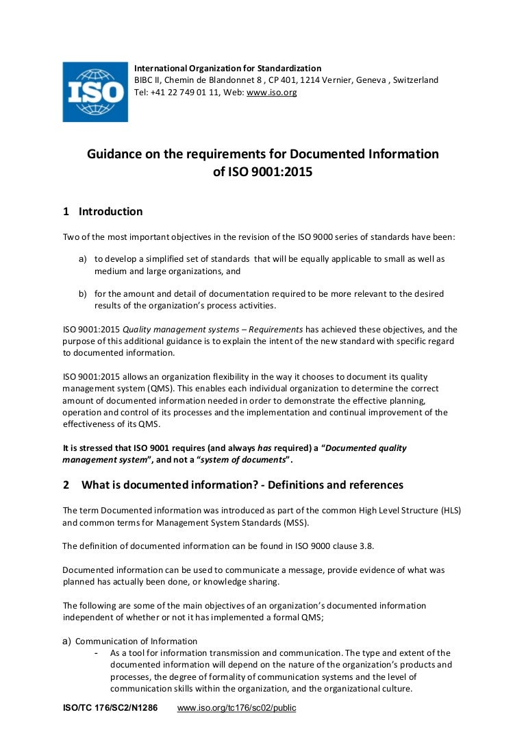 guidance on the requirements for documented information in iso 9001-2…