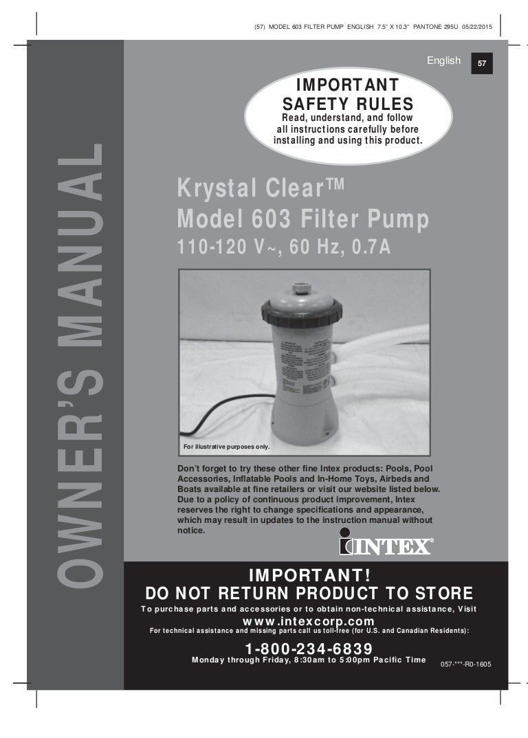 Intex Pool Pump Parts Impeller Manual Guide