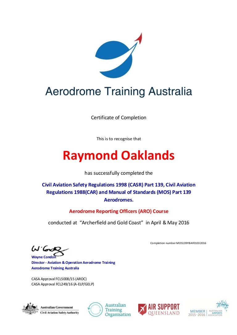 ray oaklands mos 139 aro certificate rh slideshare net Part 139 Airport List FAA Part 139 ARFF
