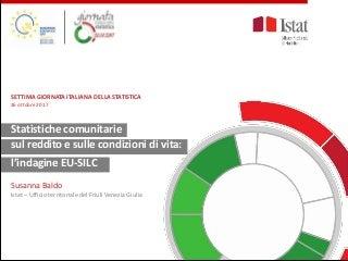 S. Baldo, Statistiche comunitarie sul reddito e sulle condizioni di vita: l'indagine EU-SILC