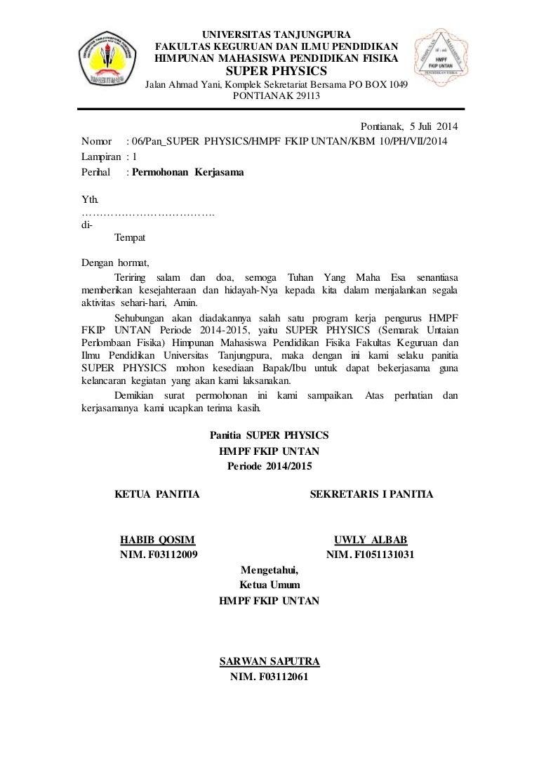 surat permohonan kerjasama (proposal)