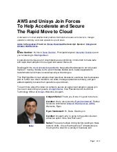 AWS and Unisys Join Forces To Help Accelerate and Secure The Rapid Move to Cloud