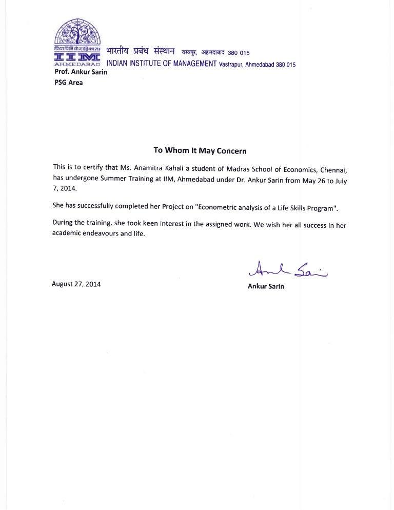 Summer training letter format idealstalist summer training letter format internship certificate iima pdf spiritdancerdesigns Gallery