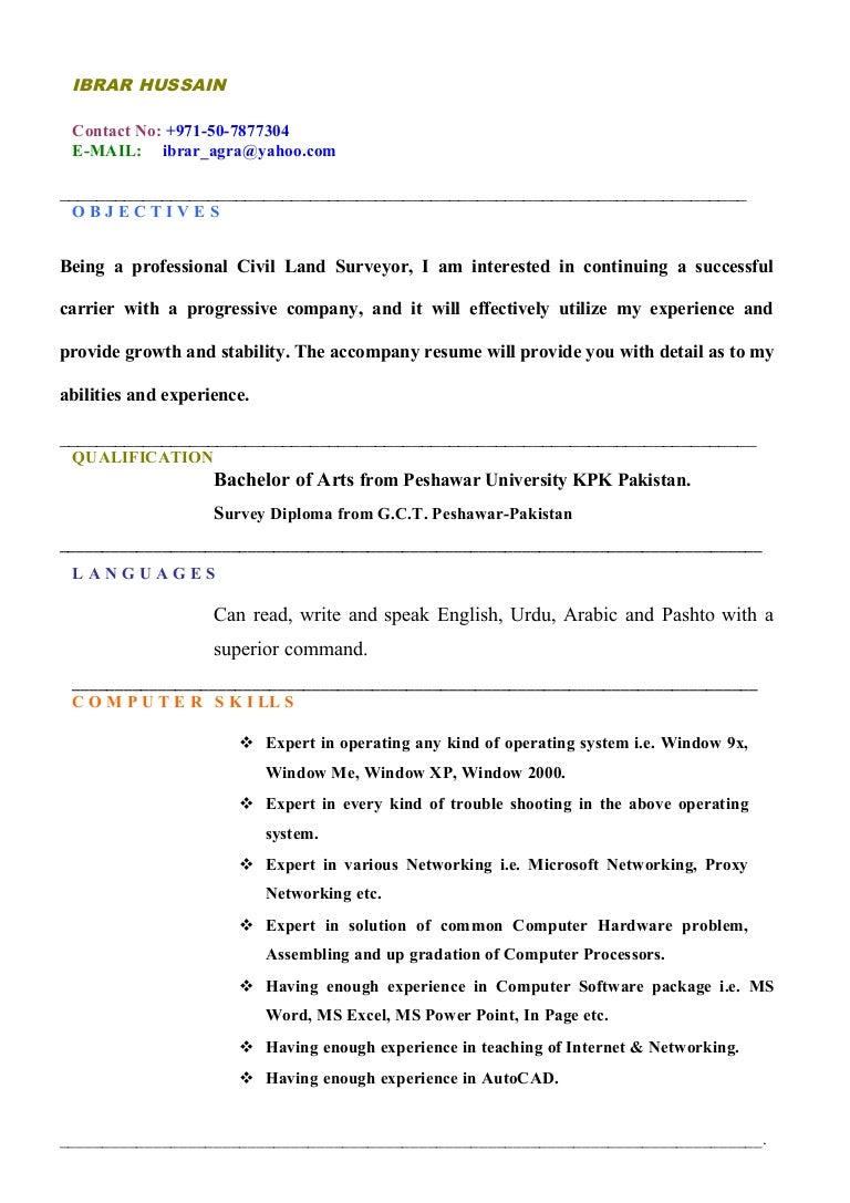land surveyor updated cv