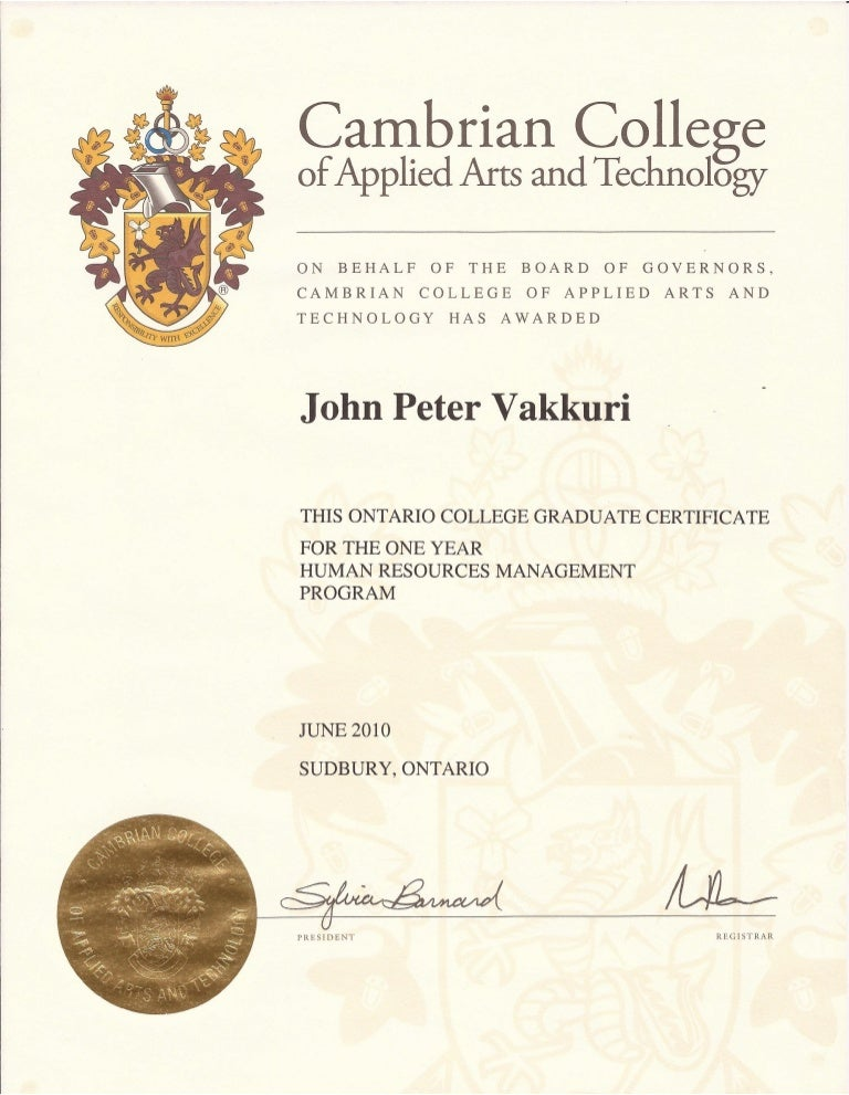 Cambrian College Human Resources Management Honours Certificate