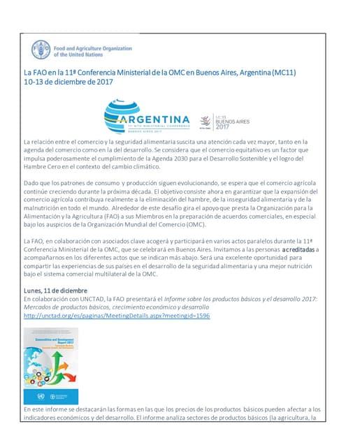 La FAO en la 11ª Conferencia Ministerial de la OMC en Buenos Aires, Argentina (MC11) 10-13 de diciembre de 2017