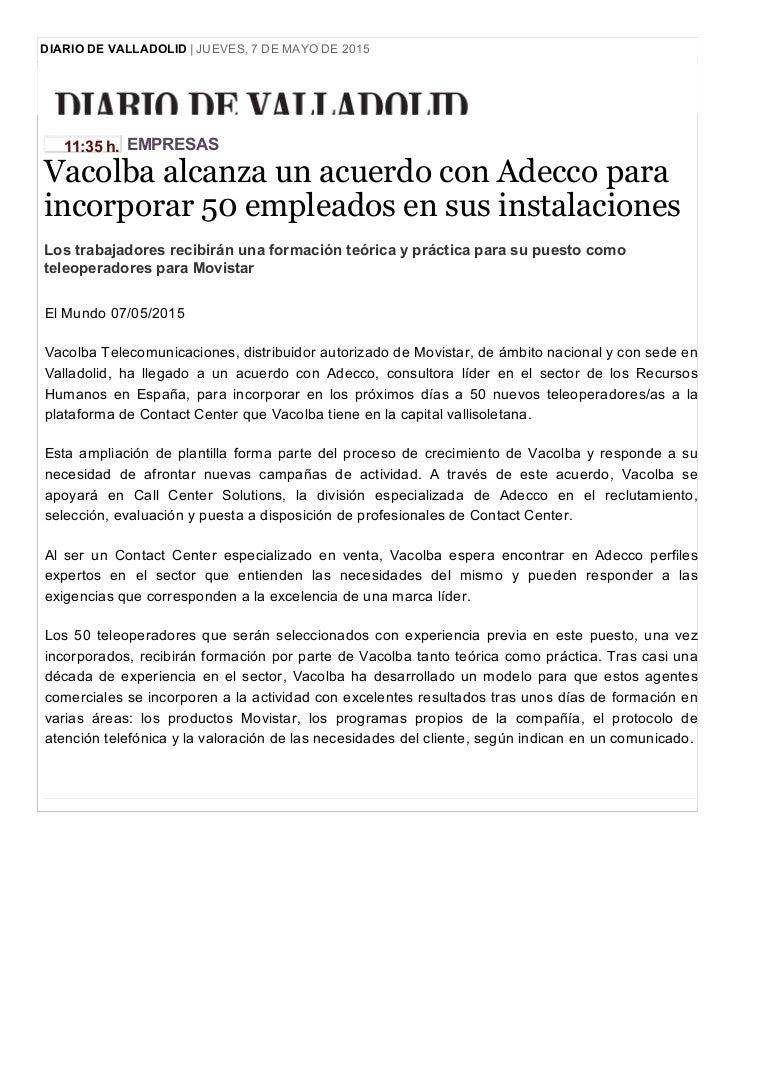 Diario de Valladolid: Vacolba alcanza un acuerdo con Adecco para inco…