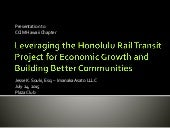Leveraging the Honolulu Rail Transit Project for Economic Growth and Building Better Communities