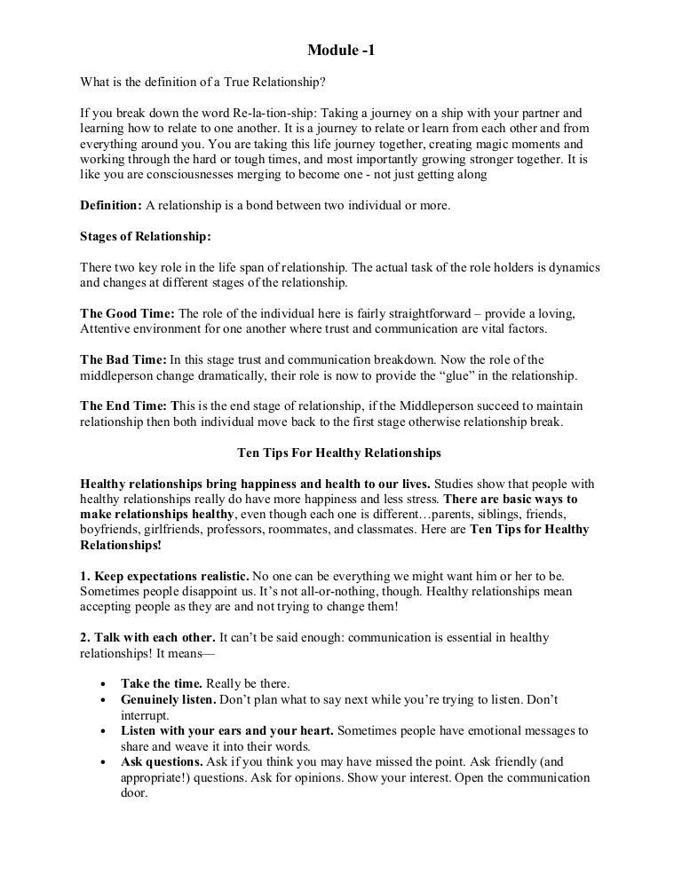 psychology notes on relationship management