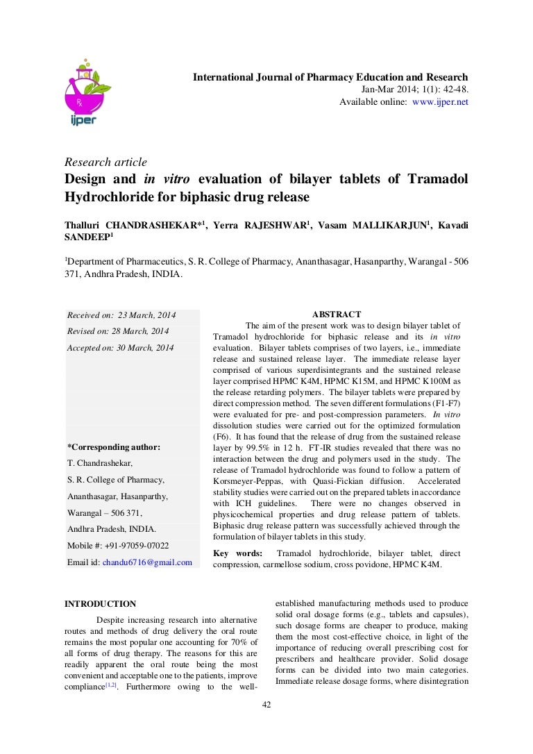 Design and in vitro evaluation of bilayer tablets of Tramadol hydroch…