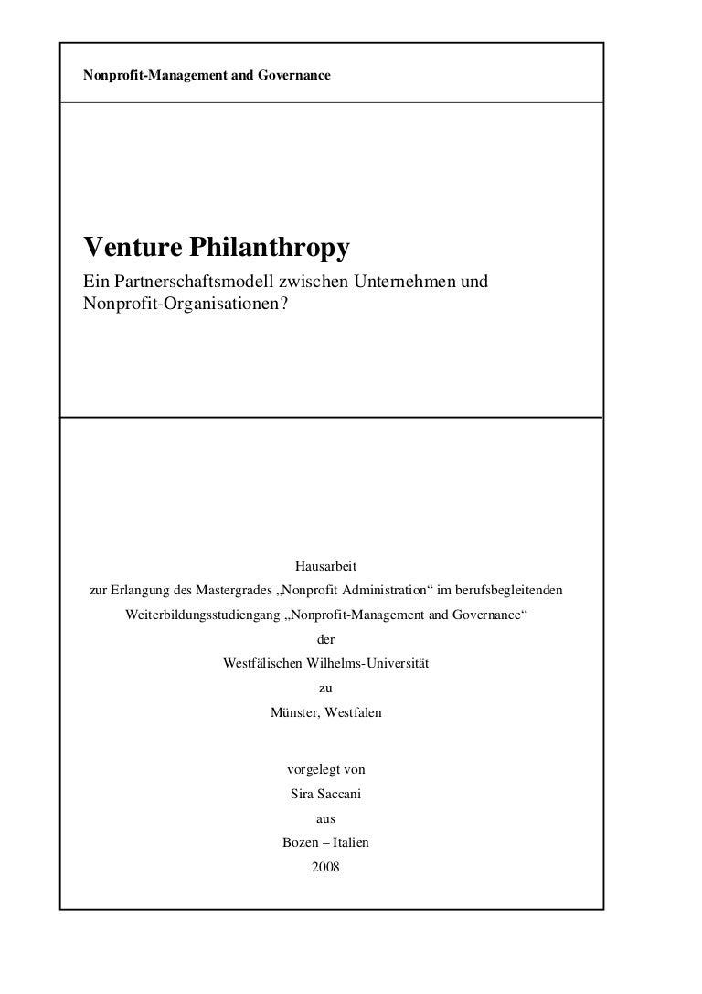 Venture Philanthropy. Ein Partnerschaftsmodell zwischen Unternehmen u…