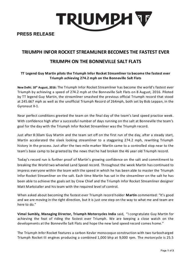 triumph land speed record 2016