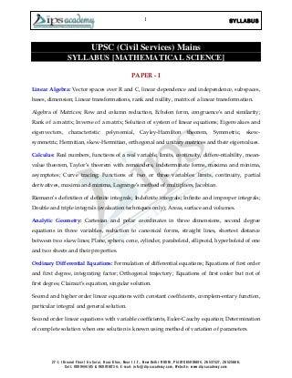 DOWNLOADS UPSC Syllabus - Dips Academy: Regenerating Mathematics