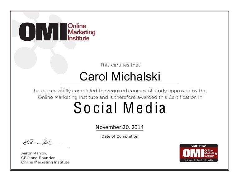 Social Media Certificate Of Completion Carol Michalski