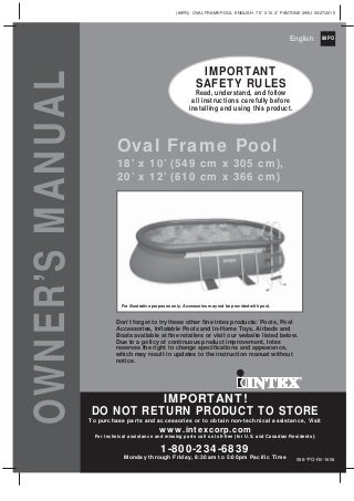 Intex oval swimming pool Manual for 18' x 10' and 20' x 12' Intex pools