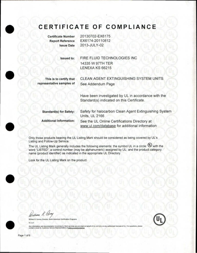 Ul certificate of compliance fft for listed systems altavistaventures Gallery