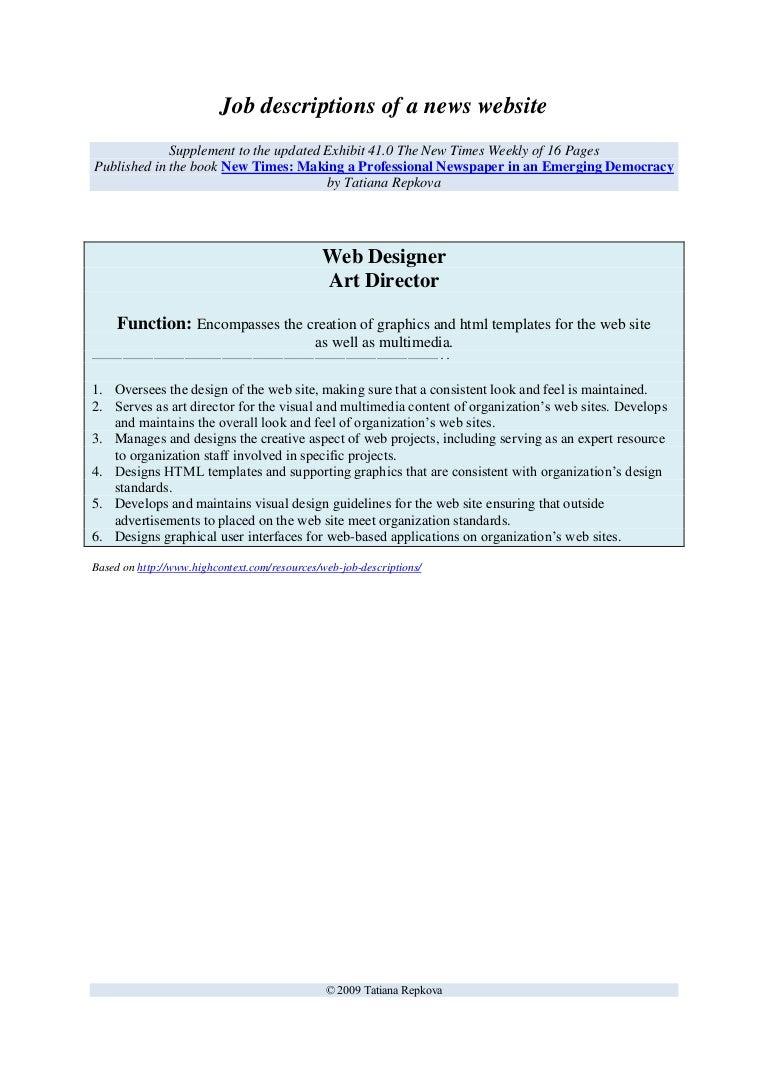 Sample job description Web Designer Art Director – Art Director Job Description