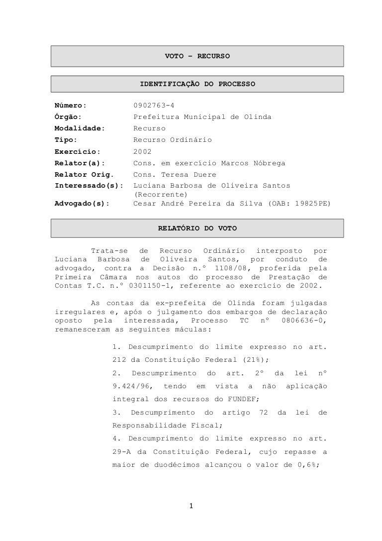 voto que embasou aprovação das contas de luciana santos02816 Artigo 2 Da Constituicao Federal #12