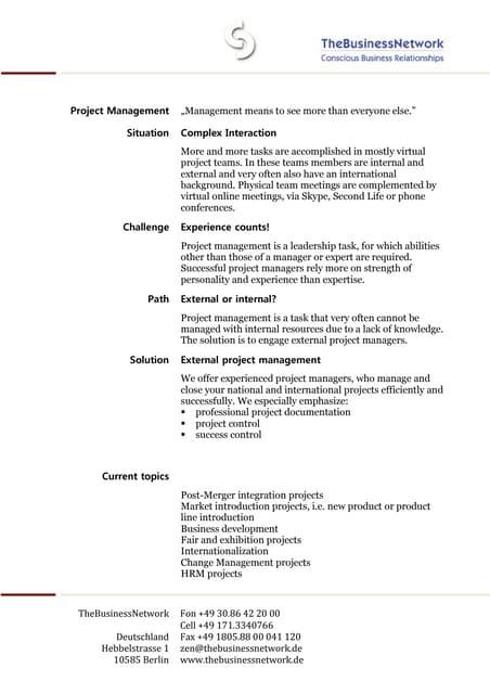 Projectmanagement English