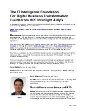 The IT Intelligence Foundation For Digital Business Transformation Builds from HPE InfoSight AIOps