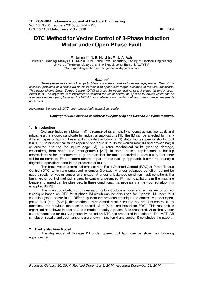 DTC Method for Vector Control of 3-Phase Induction Motor under Open-P…