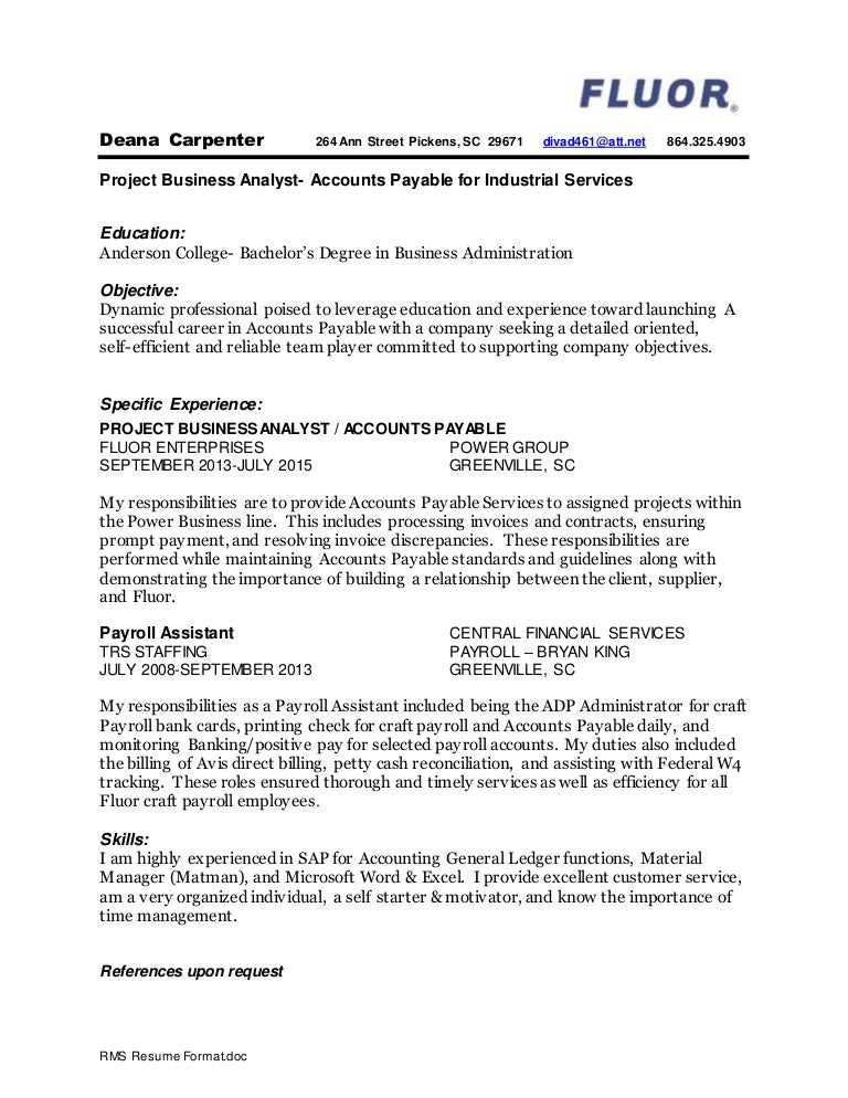 deana carpenter resume august 16th 2015 completed - Carpenter Resume Objective